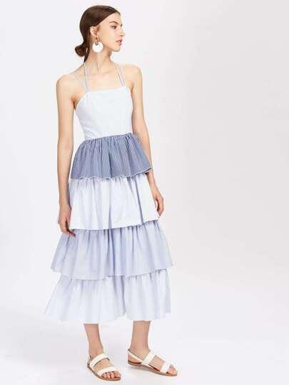 Tiered Pinstripe Cami Dress