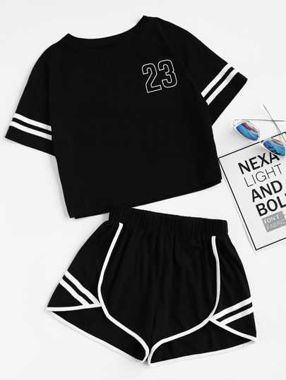 Crop Varsity T-shirt And Contrast Binding Notch Shorts Set