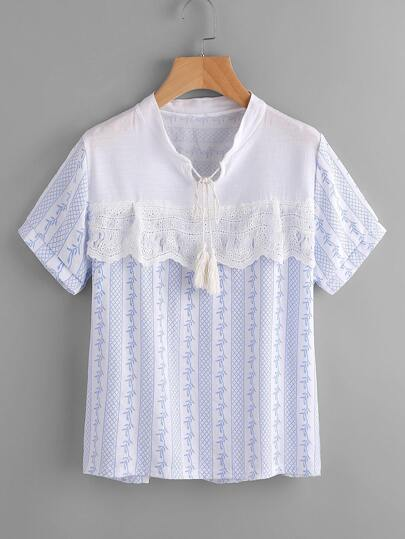 Contrast Eyelet Embroidered Lace Tassel Tie Printed Blouse