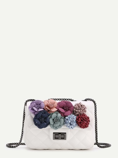 Flower Embellished Quilted Chain Bag