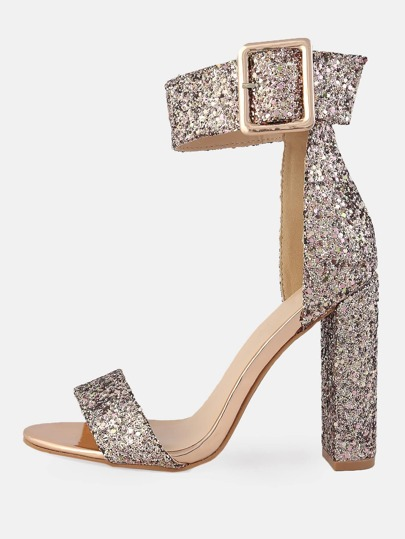 Chunky Patent Ankle Strap Heels ROSE GOLD