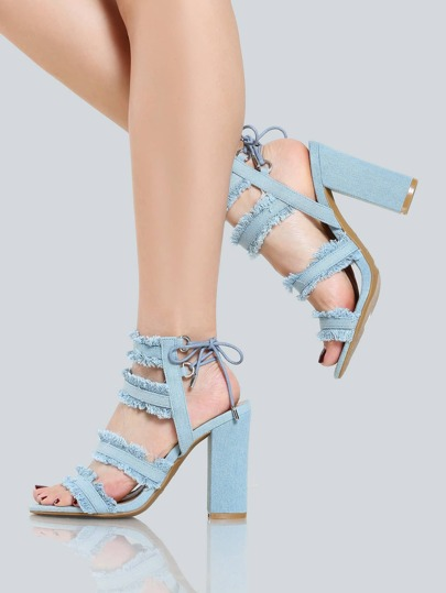 Quadruple Strap Fray Denim Heels BLUE DENIM