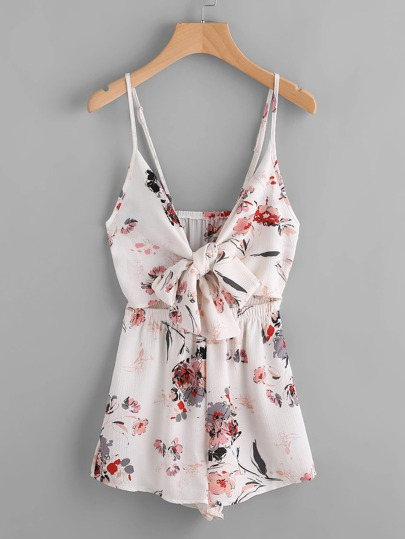 Floral Print Cut Out Bow Tie Front Cami Romper