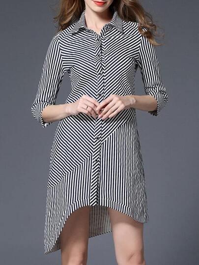 White Black Striped High Low Dress