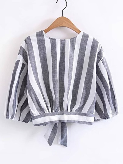 Vertical Striped Bow Tie Back Top