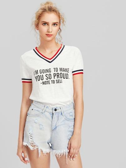 Camiseta de raya universitaria