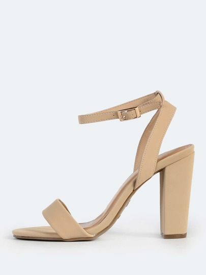 Classic Nubuck Ankle Strap Heels NUDE