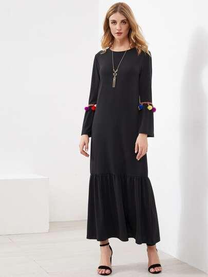 Pompom Detail Frill Hem Maxi Long Dress
