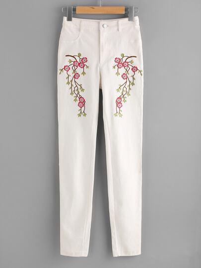 Blossom Embroidered Super Skinny Pants