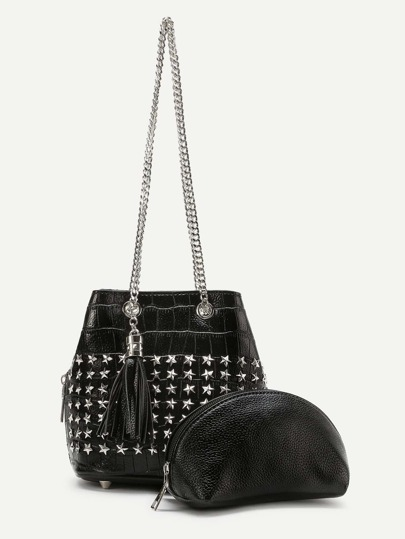 Tassel And Star Detail Shoulder Bag With Clutch