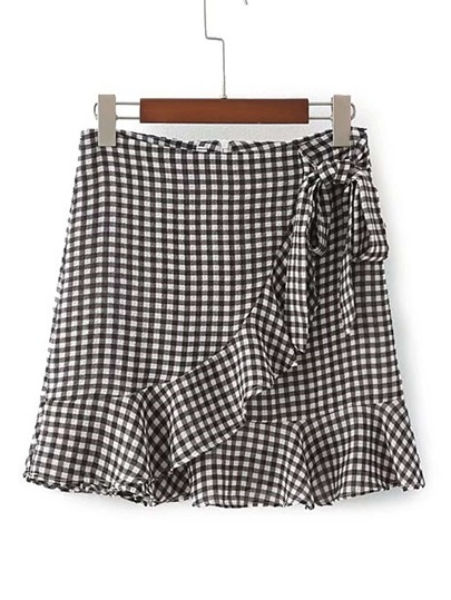 Ruffle Trim Knot Waist Checkered Skirt