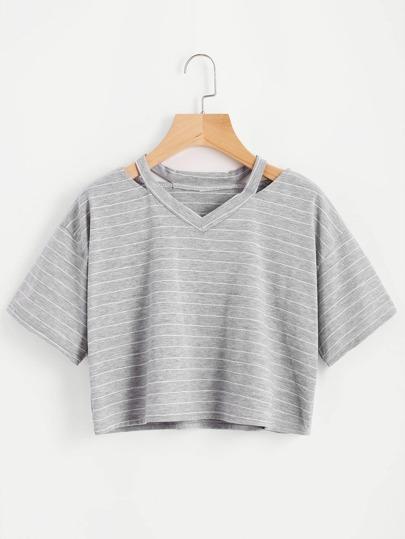 Tee-shirt découpé à rayures
