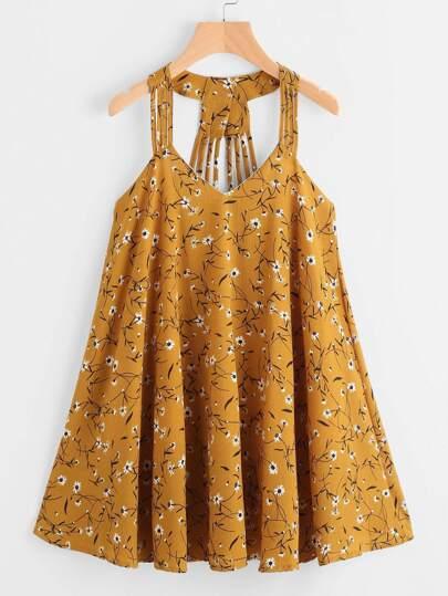 Ditsy Print Strappy Detail Dress