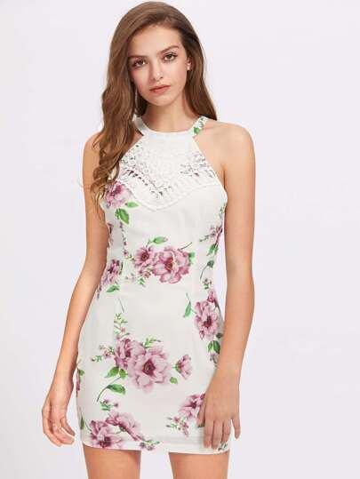 Contrast Lace Floral Bodycon Dress