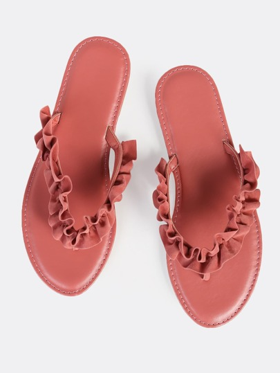 Frilly Thong Sandals MAUVE