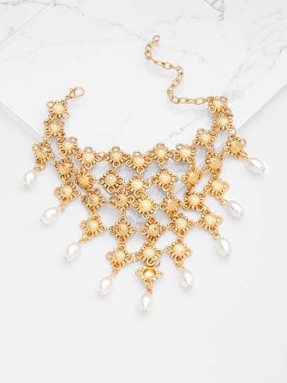 Tobillera con detalle de perla de imitación