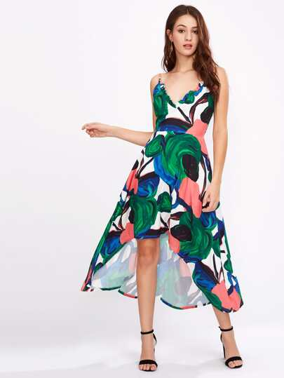 Abstract Print Frill Trim Dip Hem Cami Dress