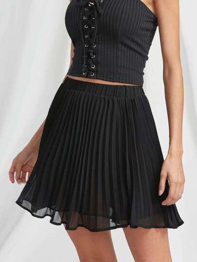 Elasticized Waist Pleated Circle Skirt