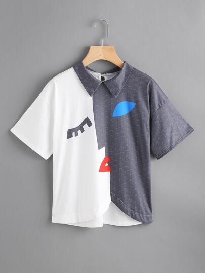Color Block High Low Pattern Print Tee