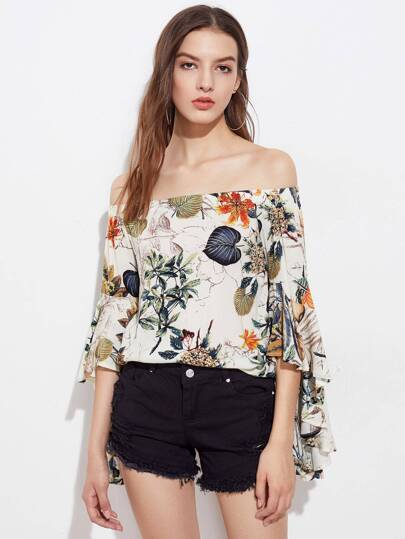 Bardot Tropical Print Flare Sleeve Top