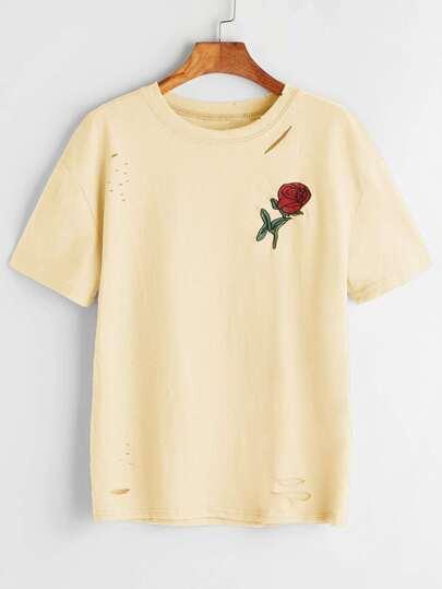 Senf zerrissene Rose gesticktes T-Shirt