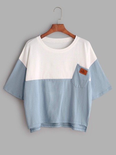 Dropped Shoulder Color Block Dip Hem Tee