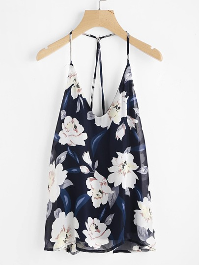 Florals Backless Halter Top