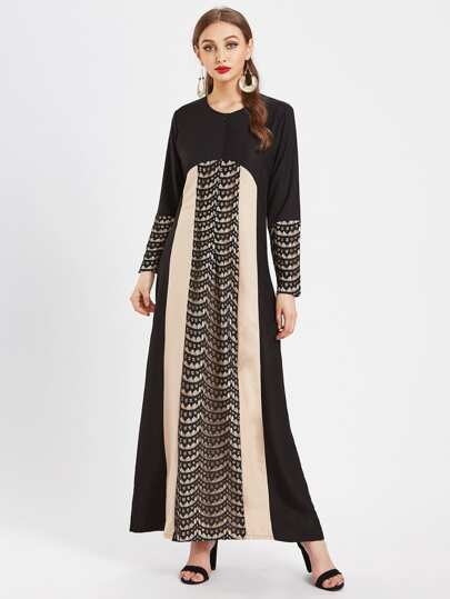 Color Block Lace Panel Full Length Kaftan Dress