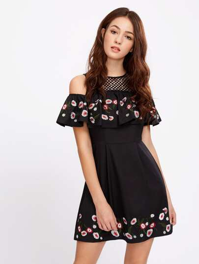Lace Yoke Open Shoulder Embroidered Flounce Dress