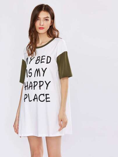 Contrast Neck And Sleeve Nightdress