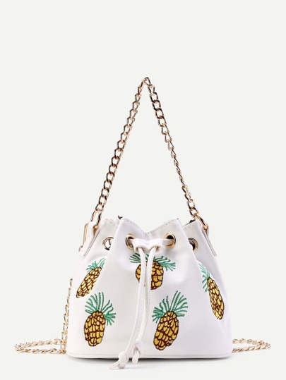 Pineapple Embroidery Drawstring Bucket Bag