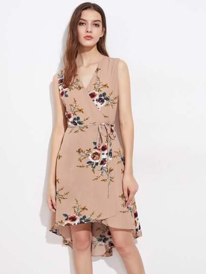 2f2ffcf8265bf فستان بلا كم طباعة الزهور لنساء