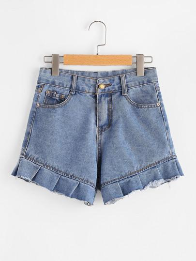 Frill Trim Raw Hem Denim Shorts