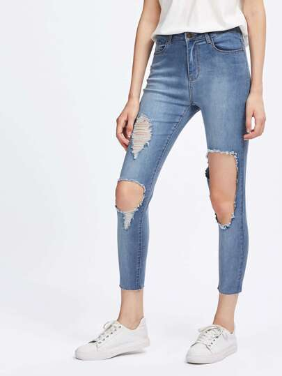 Knee Cutout Raw Hem Jeans