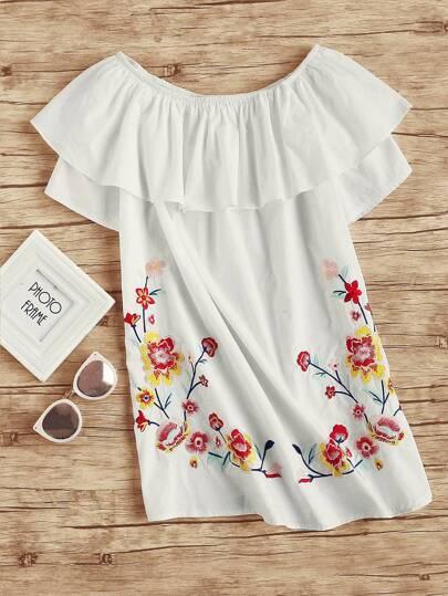 Flower Embroidered Frill Bardot Dress