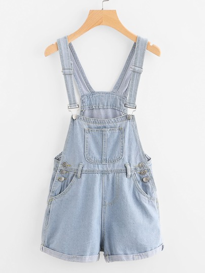 Cuffed Button Detail Denim Dungaree Shorts