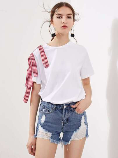 Gingham Sash Shoulder T-shirt