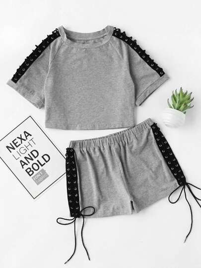 Lace Up Grommet Raglan Sleeve Heathered Loungewear Set
