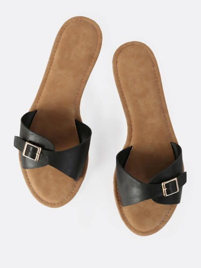Faux Leather Buckle Slides BLACK