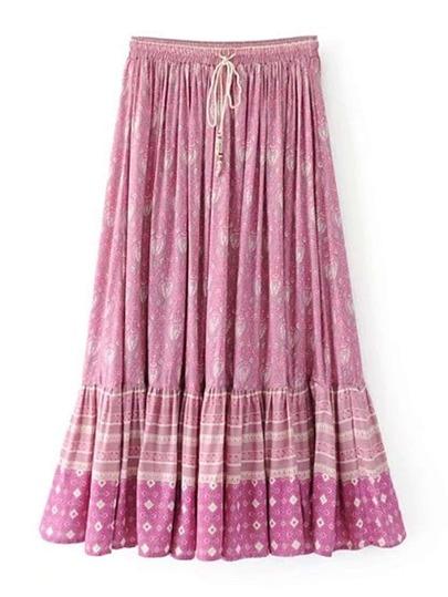 Elastic Waist Ruffle Hem Skirt