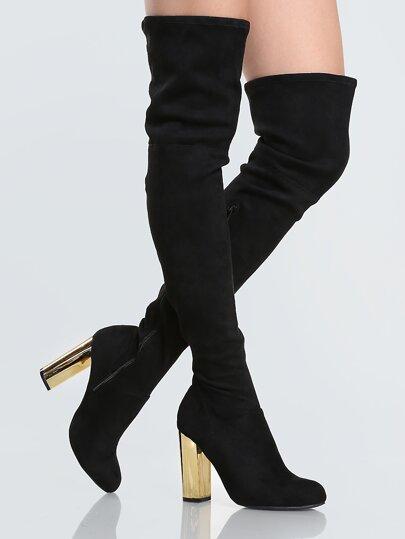 Golden Heel Suede Thigh Highs BLACK