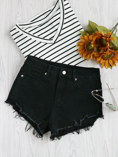 Asymmetric Raw Cut Denim Shorts