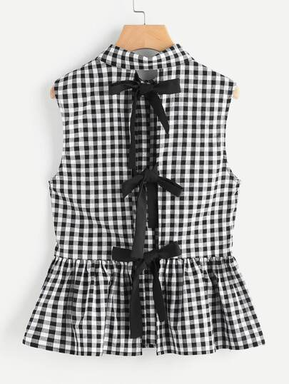 Split Bow Back Button Up Gingham Peplum Blouse