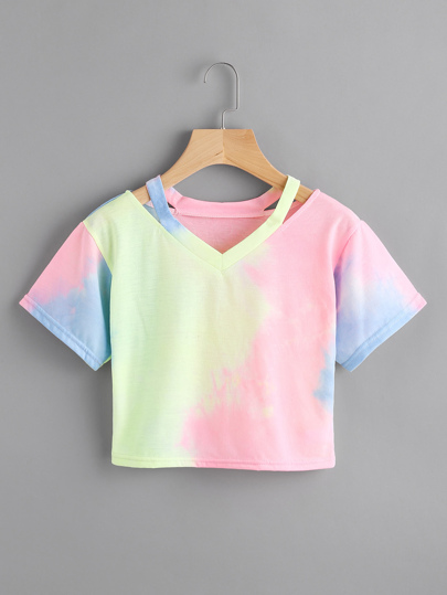 Cut Out Neck Water Color Tee