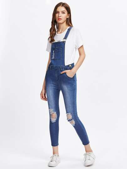 Bleach Wash Knee Ripped Denim Overalls