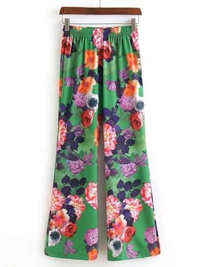 Pantalones con cintura elástica y pernera ancha
