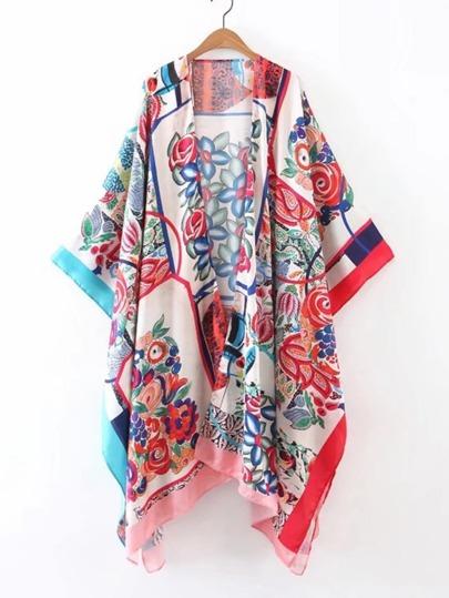 Color  Random Open Front Asymmetrical Kimono