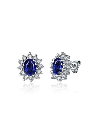 Gemstone Flower Shaped Stud Earrings
