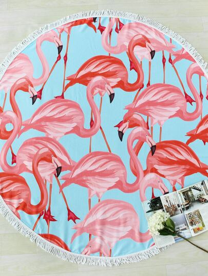 Flamingo Print Fringe Trim Round Beach Blanket