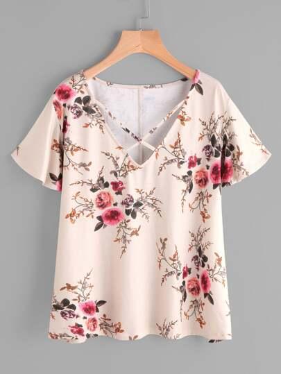 T-Shirt mit Kreuzgurte und Blumenmuster